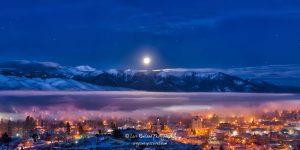Full Moon setting over the community of Baker City